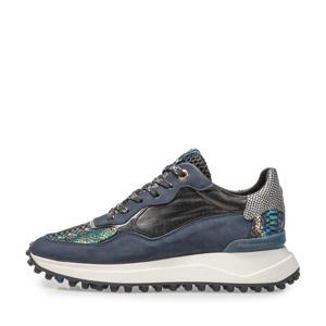 Noppi  leren sneakers blauw/zwart