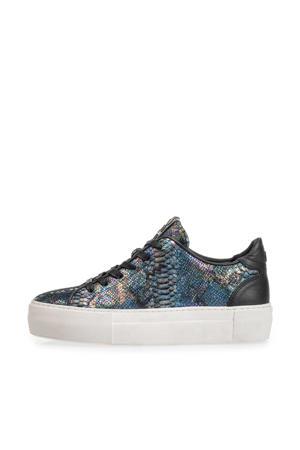 Vinni  leren sneakers slangenprint blauw/metallic