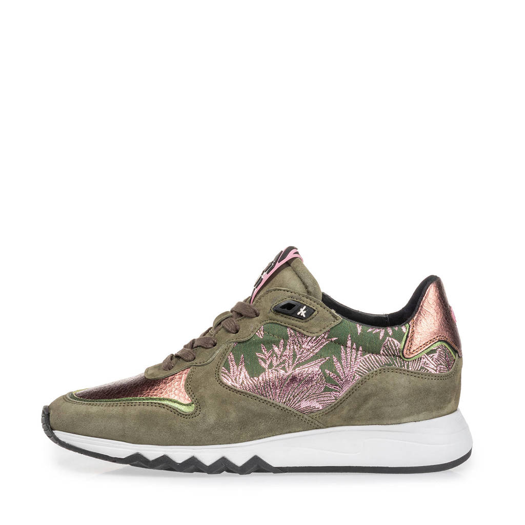Floris van Bommel Nineti  suède sneakers olijfgroen/koper