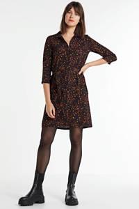 anytime blousejurk met all-overprint zwart/donkerrood, Zwart/donkerrood/oker