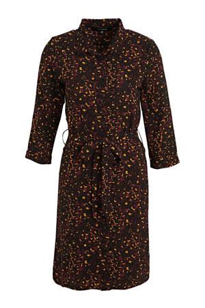 blousejurk met all-overprint zwart/donkerrood
