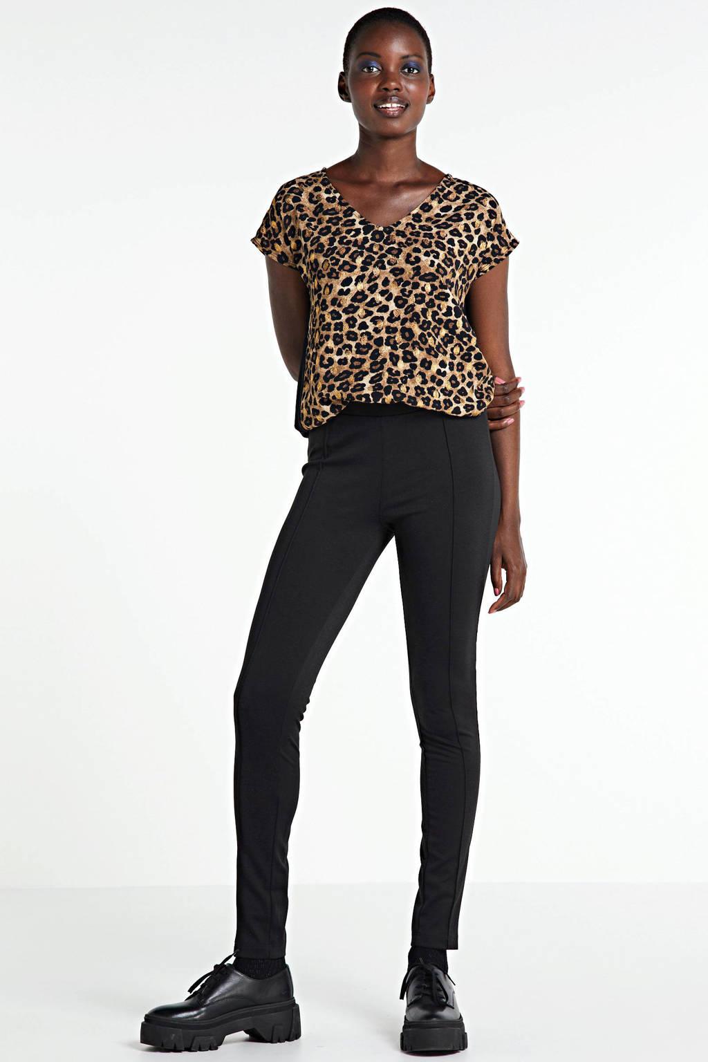 anytime top met panterprint met goud en uni achterkant zwart, Zwart/camel/goud