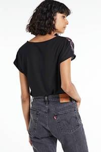 anytime top met bloemenprint en uni achterkant zwart, Zwart