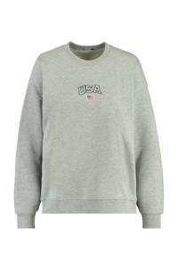 America Today sweater Sonny met tekst mid grey melange