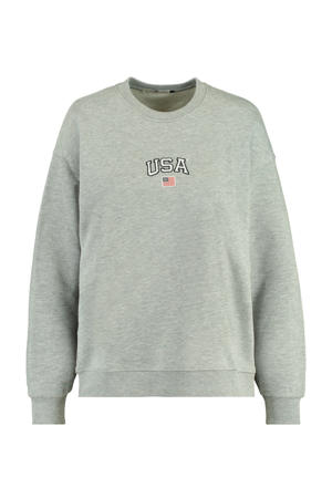 sweater Sonny met tekst mid grey melange