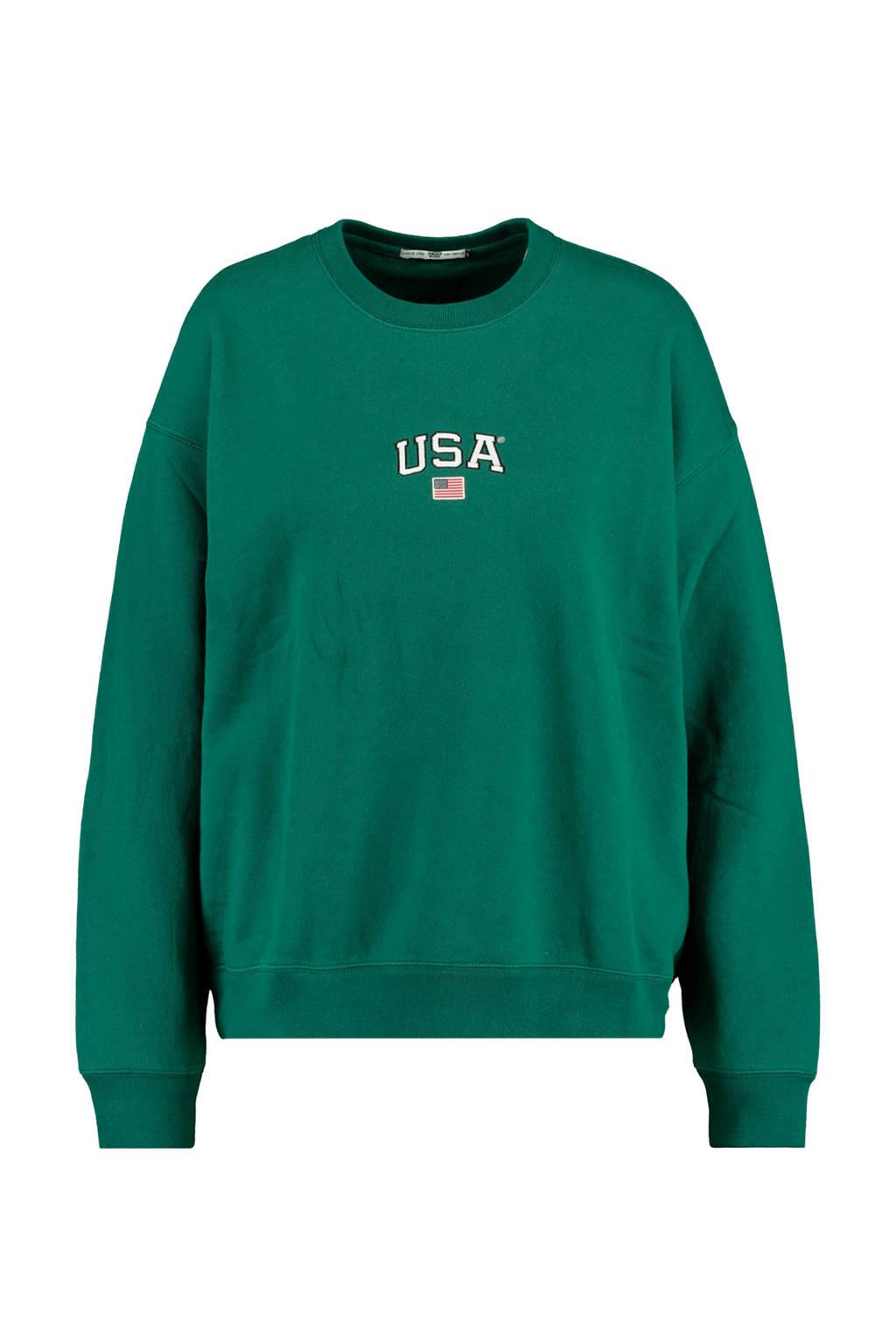 America Today sweater Sonny met tekst bottle green