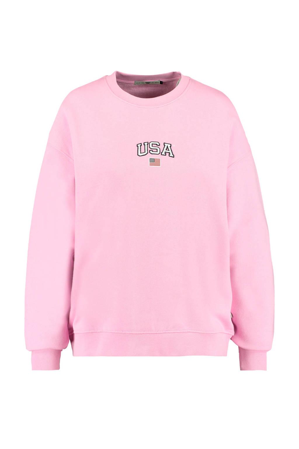America Today sweater Sonny met tekst roze, Roze
