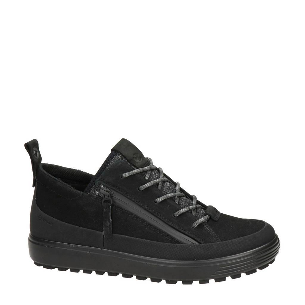 Ecco Soft 7 Tred comfort nubuck veterschoenen zwart, Zwart