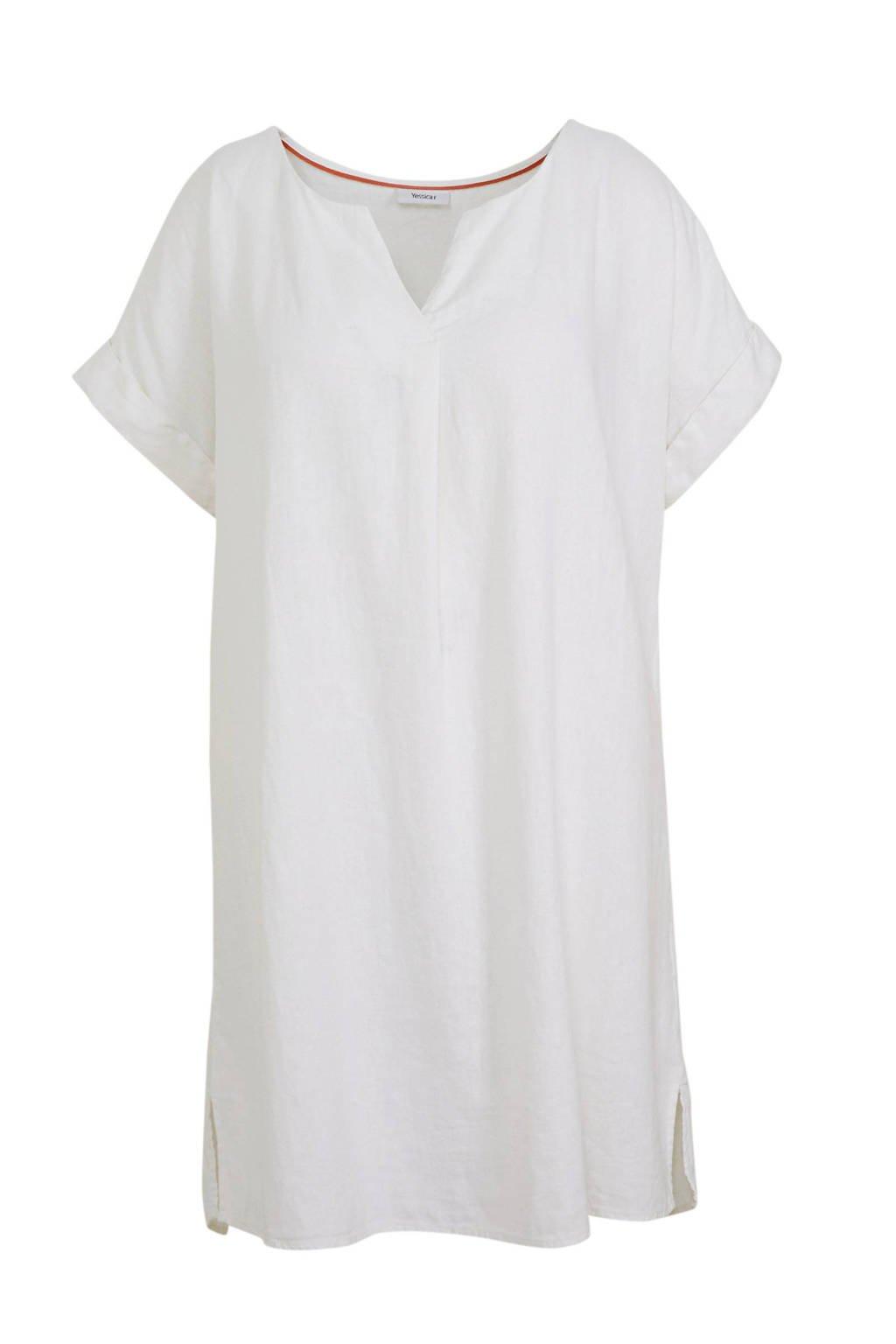 C&A XL Yessica jurk met linnen wit, Wit