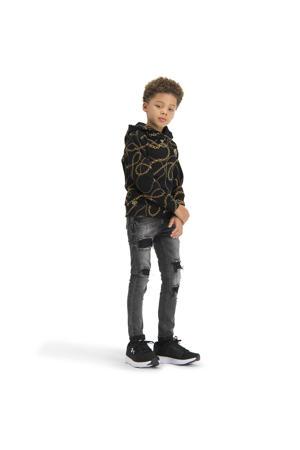 hoodie Newsome met all over print zwart/bruin