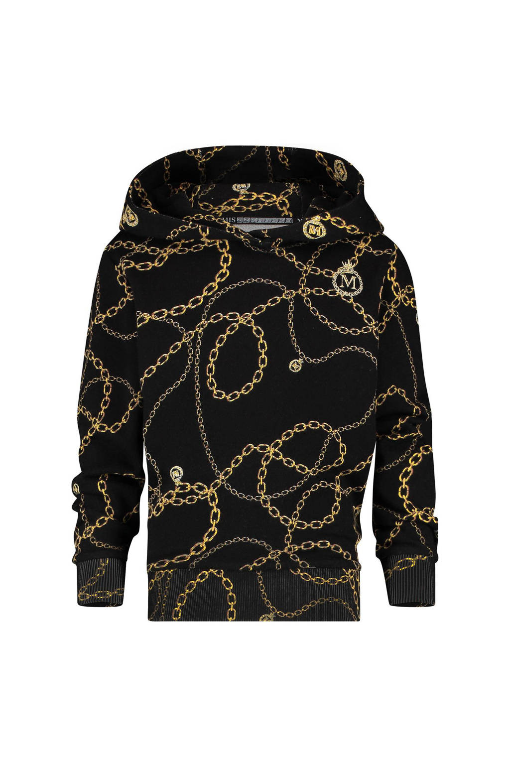 Vingino Memphis Depay hoodie Newsome met all over print zwart/bruin, Zwart/bruin