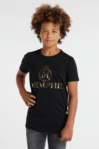 Vingino Memphis Depay T-shirt Herossi met logo zwart, Zwart