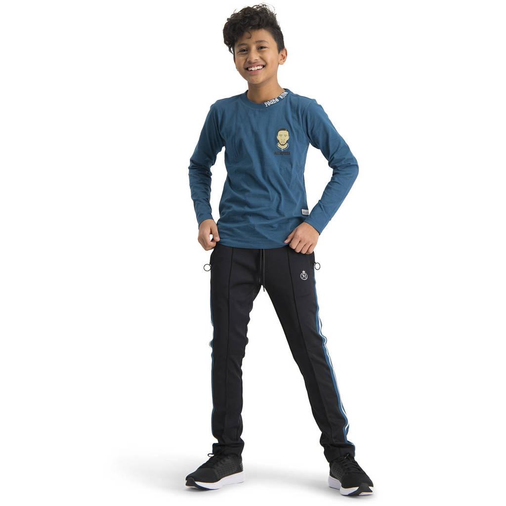 Vingino Memphis Depay skinny broek Sergior met zijstreep zwart, Zwart