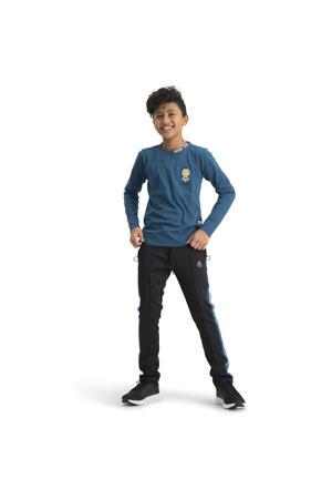 skinny broek Sergior met zijstreep zwart
