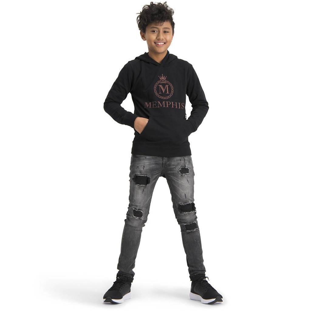 Vingino Memphis Depay hoodie Nachler met logo zwart, Zwart