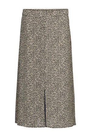 rok Emily van gerecycled polyester ecru/ zwart