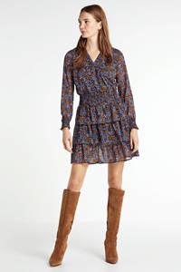 Modström gebloemde semi-transparante jurk Flame van gerecycled polyester blauw/ lichtbruin, Blauw/ lichtbruin