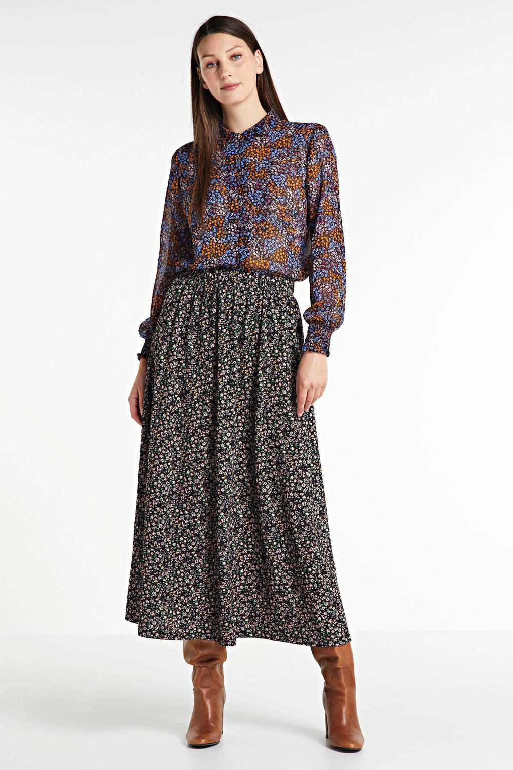 Modström gebloemde blouse Flame van gerecycled polyester blauw/multi, Blauw/multi