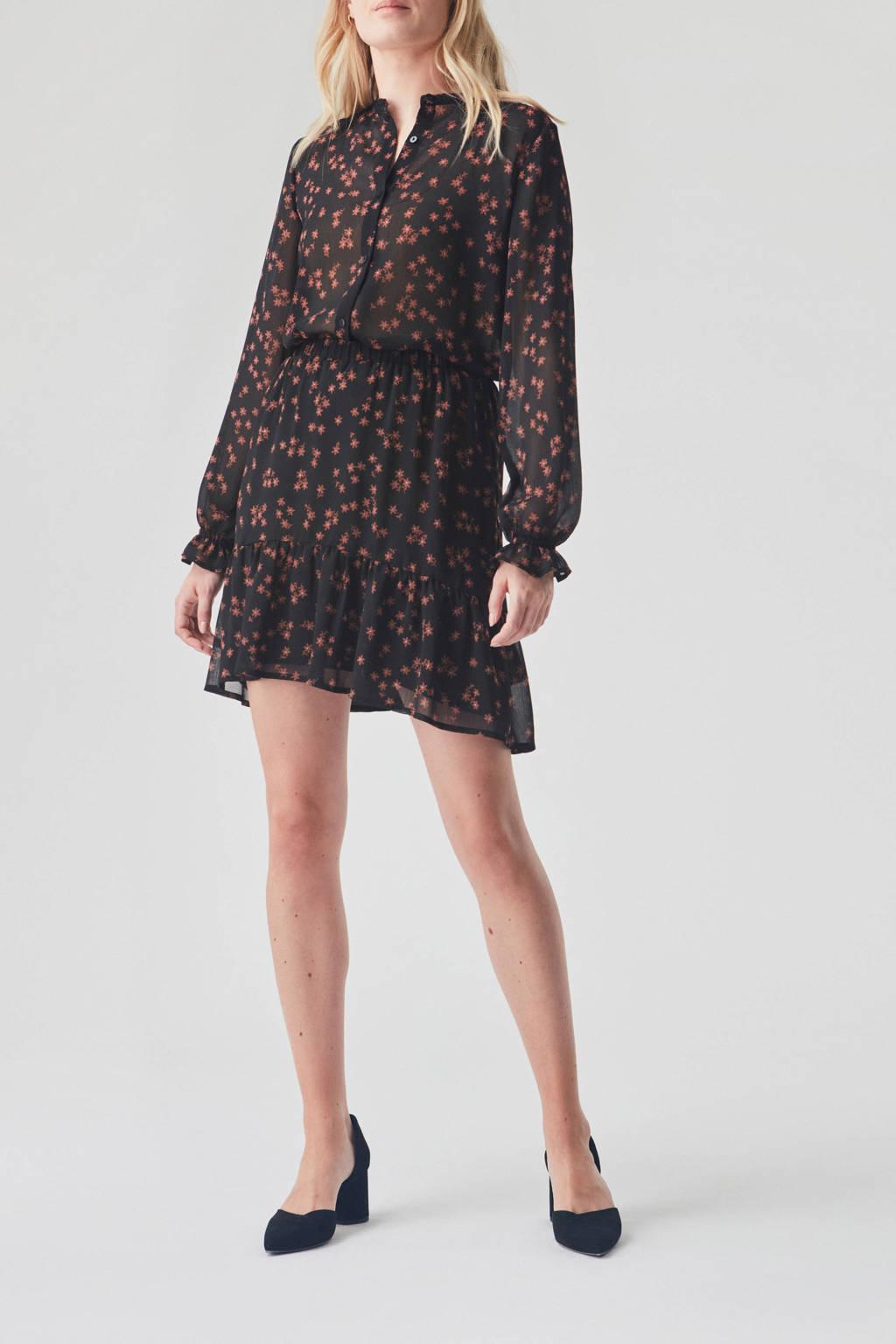 Modström gebloemde semi-transparante blouse Erica van gerecycled polyester zwart/ bruin