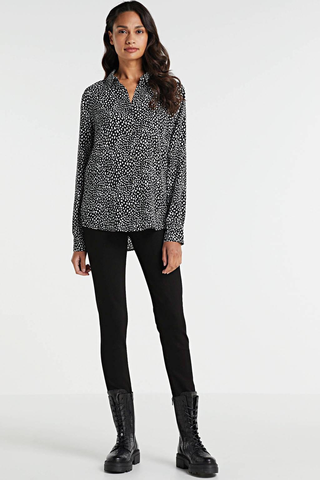Modström blouse Felix met all over print zwart/wit, Zwart/wit