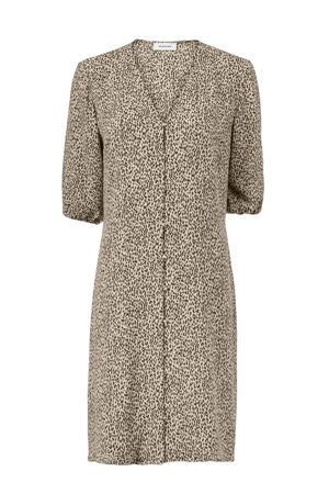 jurk Emily van gerecycled polyester ecru/ zwart
