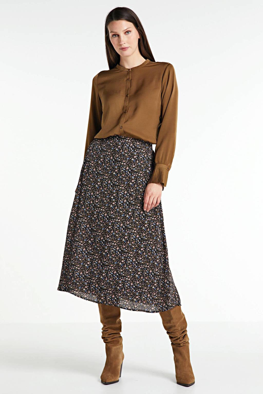 Modström blouse Foster van gerecycled polyester bruin, Bruin