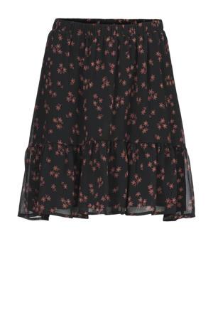 gebloemde semi-transparante rok Erica van gerecycled polyester zwart/ bruin