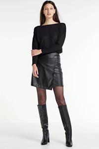 anytime imitatieleren rok zwart, Zwart