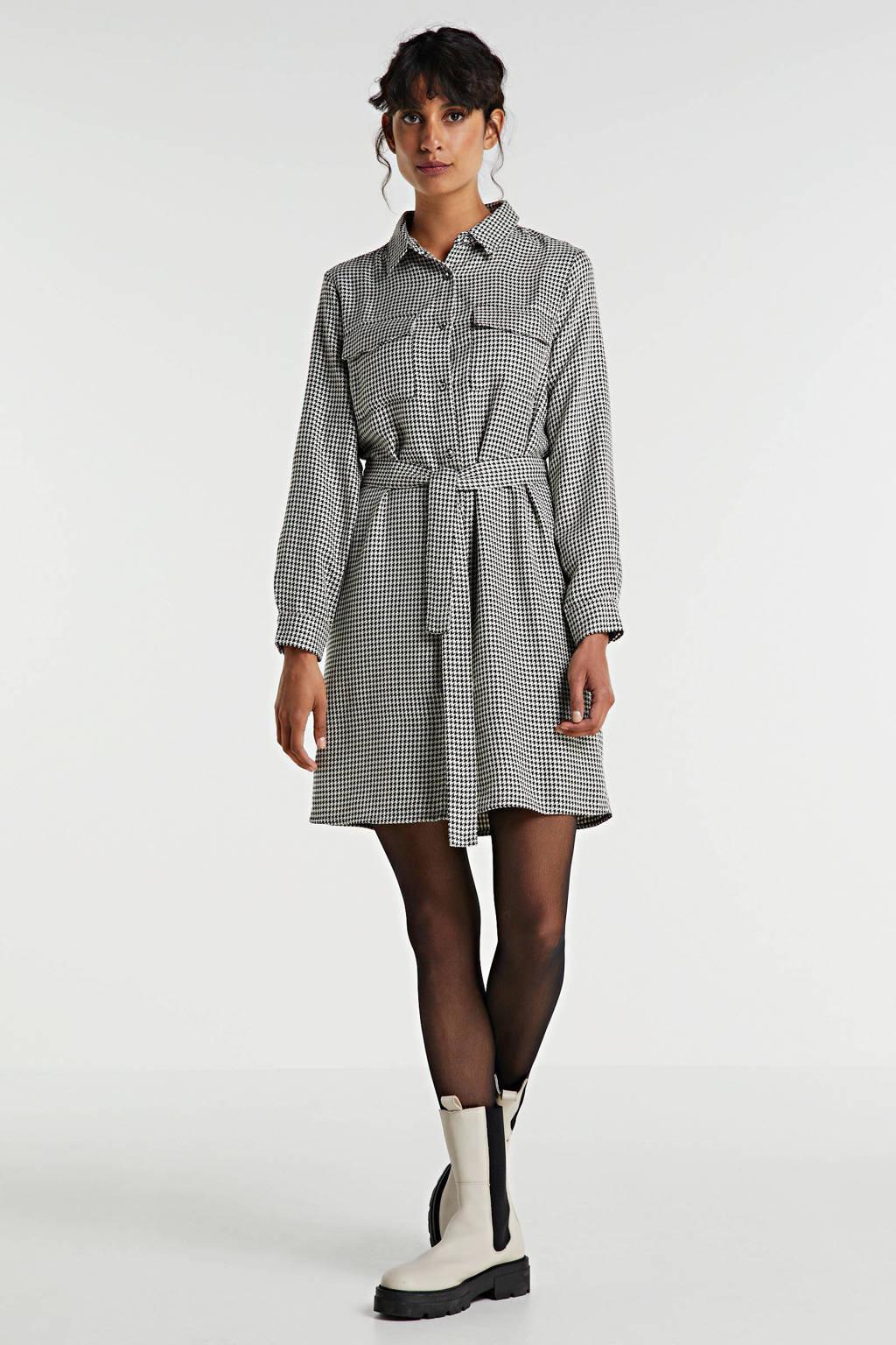 EDITED blousejurk Farha met pied-de-poule zwart/wit, Zwart/wit
