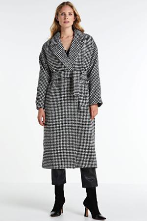 wollen coat Cassidy met pied-de-poule en ceintuur zwart/ wit