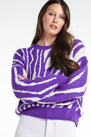 ribgebreide trui Colleen met wol en all over print lila/ gebroken wit