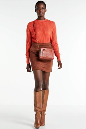 ribgebreide trui Nuria met textuur roodbruin