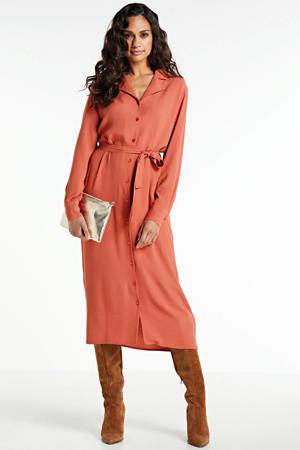 blousejurk Christin met ceintuur oranjerood