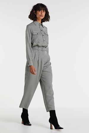 blouse Nahla met pied-de-poule zwart/wit