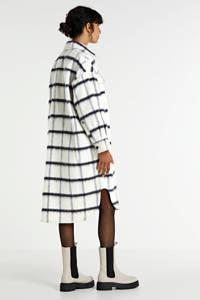 EDITED geruit overhemdjack Henrietta met wol wit/blauw, Wit/blauw