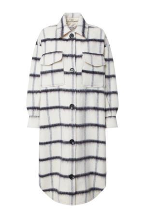 geruite coat Henrietta met wol wit/blauw
