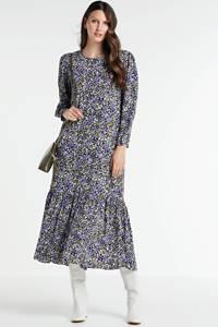 EDITED gebloemde maxi jurk Susanna blauw/ groen, Blauw/ groen