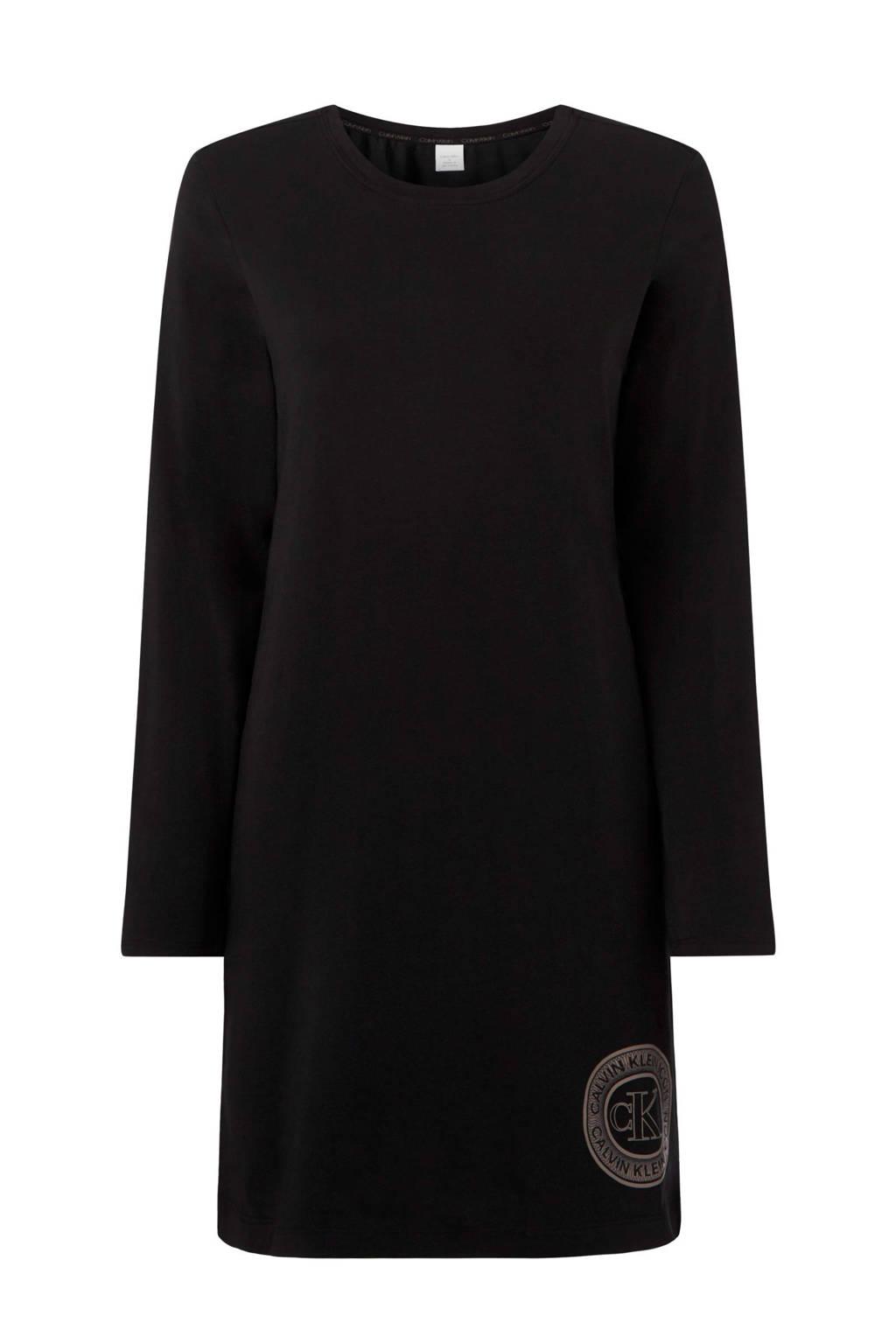 CALVIN KLEIN UNDERWEAR nachthemd met printopdruk zwart, Zwart