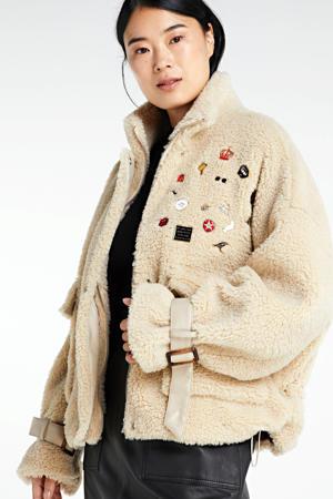 teddy winterjas Lola met patches beige