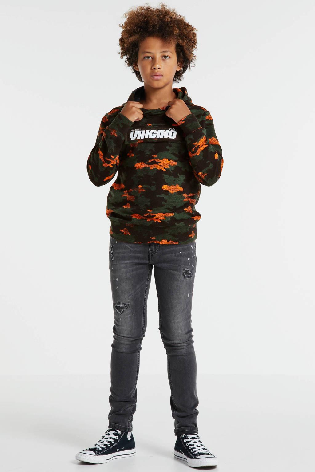 Vingino hoodie Nuis met all over print donkergroen/oranje/zwart, Donkergroen/oranje/zwart