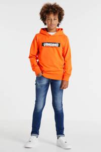 Vingino hoodie Nuis met logo oranje/zwart, Oranje/zwart