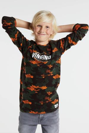 longsleeve Juslo met all over print donkergroen/oranje/zwart