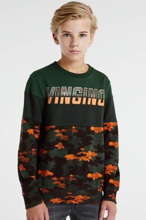 sweater Nuclo met camouflageprint mosgroen/oranje