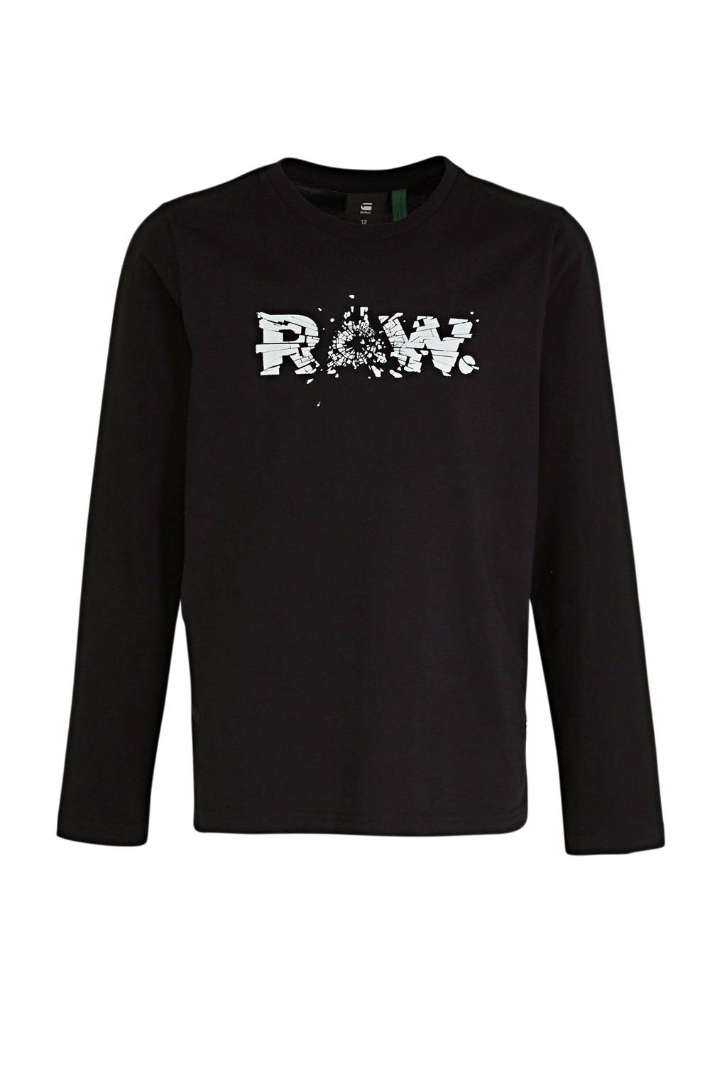 G-Star RAW longsleeve met logo zwart, Zwart