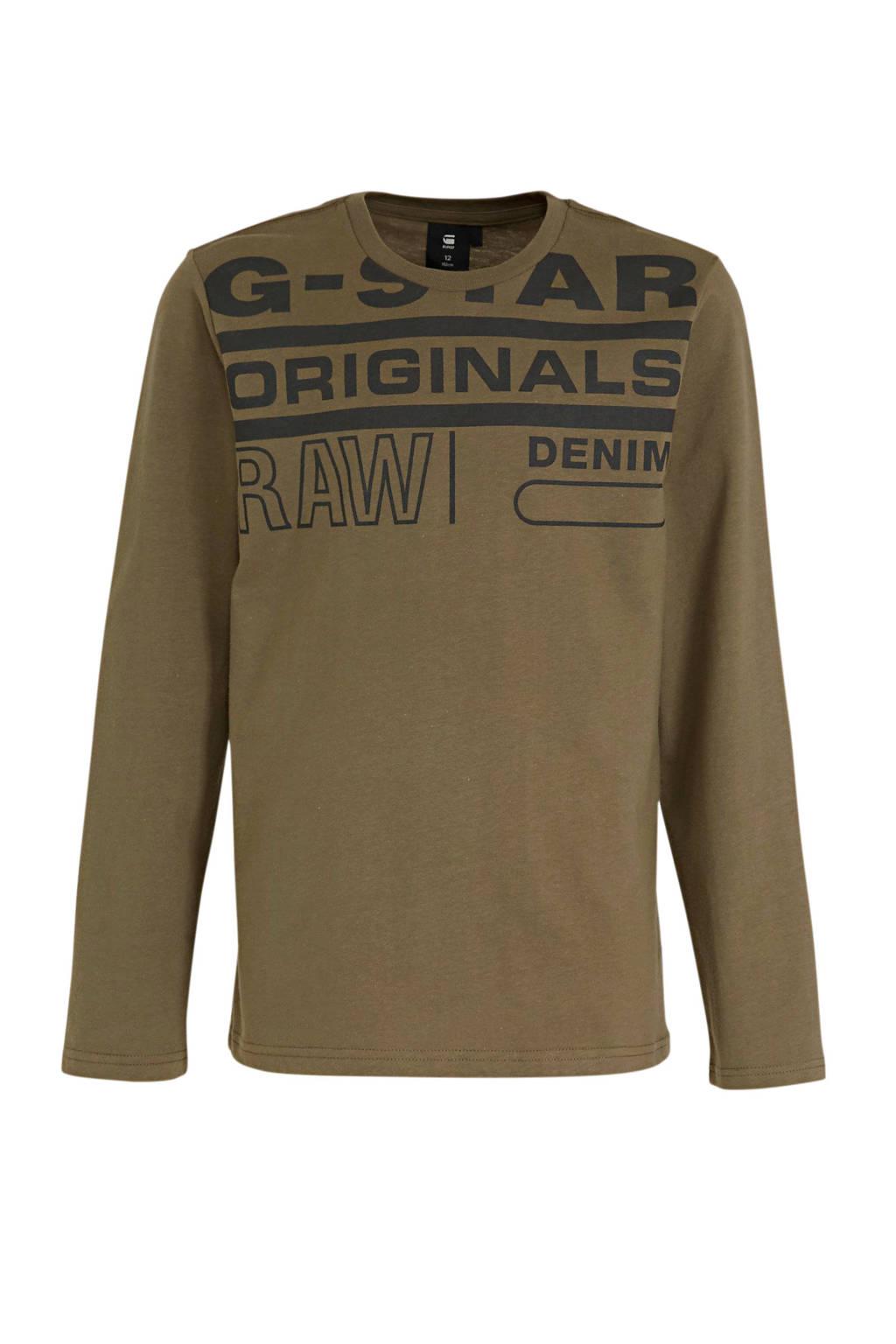 G-Star RAW longsleeve met logo kaki groen, Kaki groen