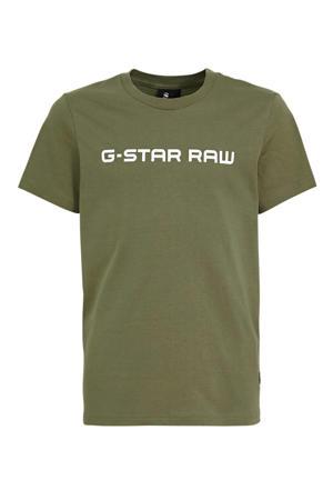 T-shirt met logo kaki groen
