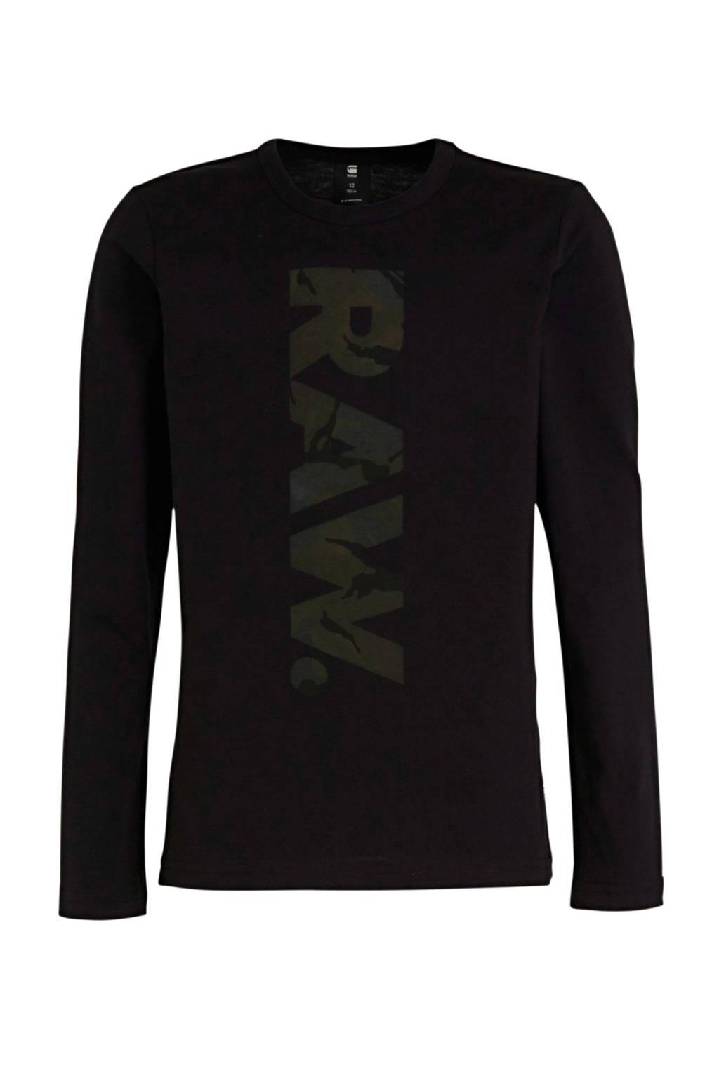 G-Star RAW longsleeve met logo zwart/groen, Zwart/groen