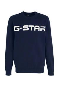 G-Star RAW sweater met logo donkerblauw, Donkerblauw