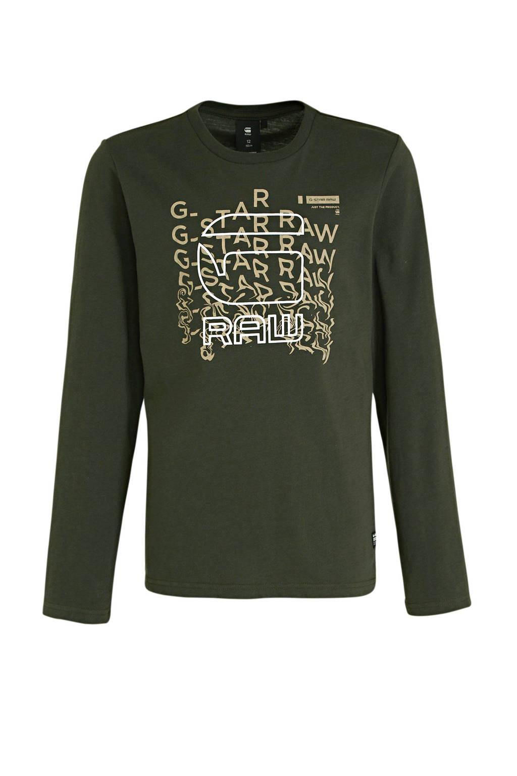 G-Star RAW longsleeve met logo donkergroen, Donkergroen