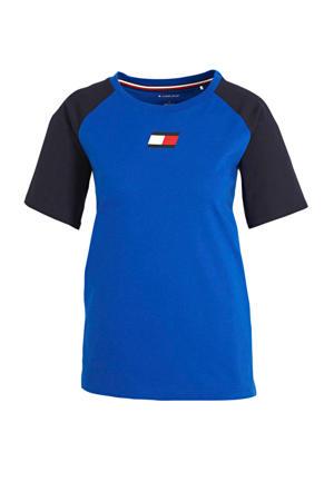 sport T-shirt blauw/zwart